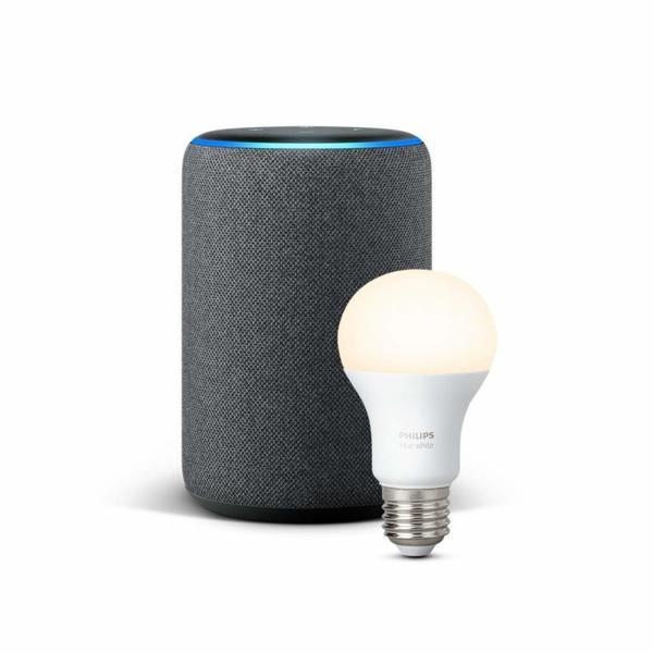 Комплект Amazon Echo Plus (2nd Generation) с вграден Smart Home Hub + Philips Hue крушка