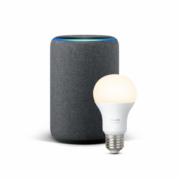 Комплект Amazon Echo Plus (2nd Generation) с вграден Smart Home Hub + Philips Hue крушка