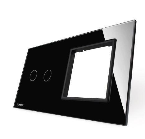 LIVOLO - 702G-61-Панел кристално стъкло, 2 точки + 1 гнездо контакт, 151mm*80mm, EU