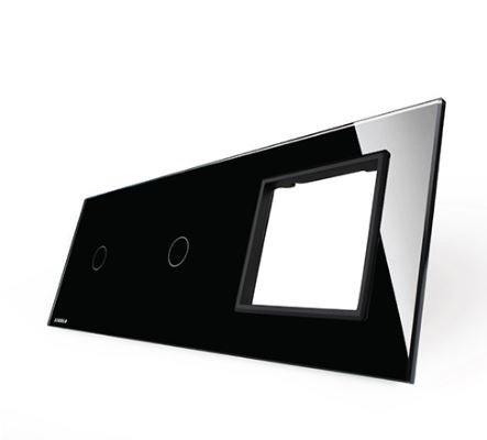 LIVOLO - 7011G-61-Панел кристално стъкло, 2 точки + 1 гнездо контакт, 223mm*80mm, EU