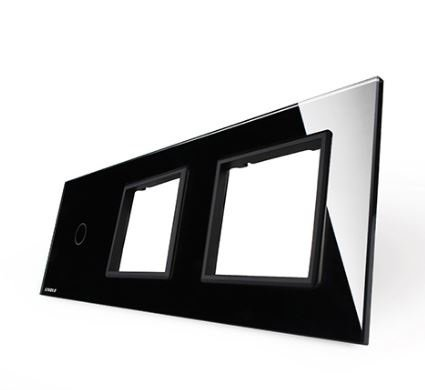 LIVOLO - 701GG-61-Панел кристално стъкло, 1 точка + 2 гнезда контакт, 223mm*80mm, EU