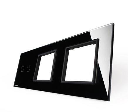 LIVOLO - 702GG-61-Панел кристално стъкло, 2 точки + 2 гнезда контакт, 223mm*80mm, EU