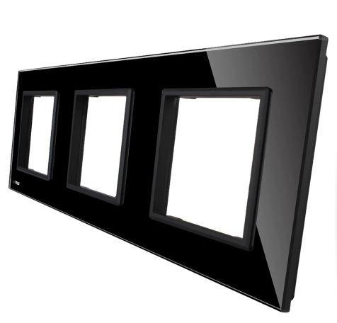 LIVOLO - GPF-3-61-Панел кристално стъкло, 3 гнезда контакт, 223mm*80mm, EU