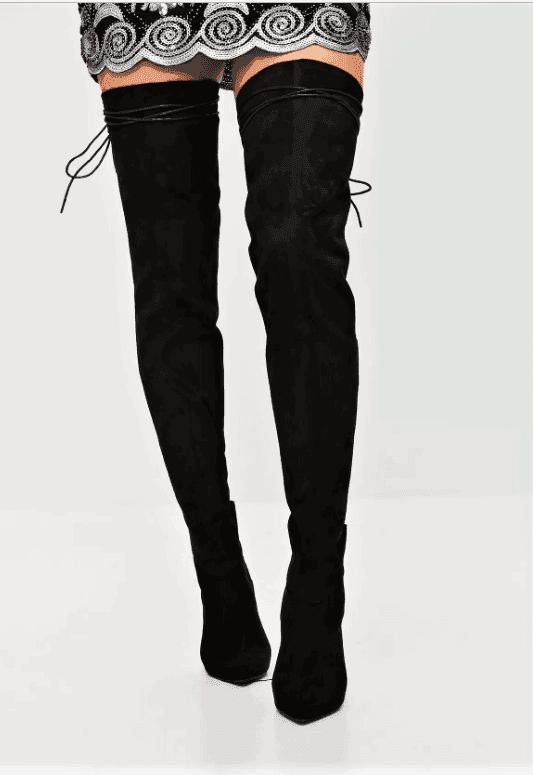 Високи велурени ботуши с връзки TAYLOR