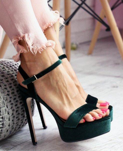 Сандали от зелено кадифе CARRIE