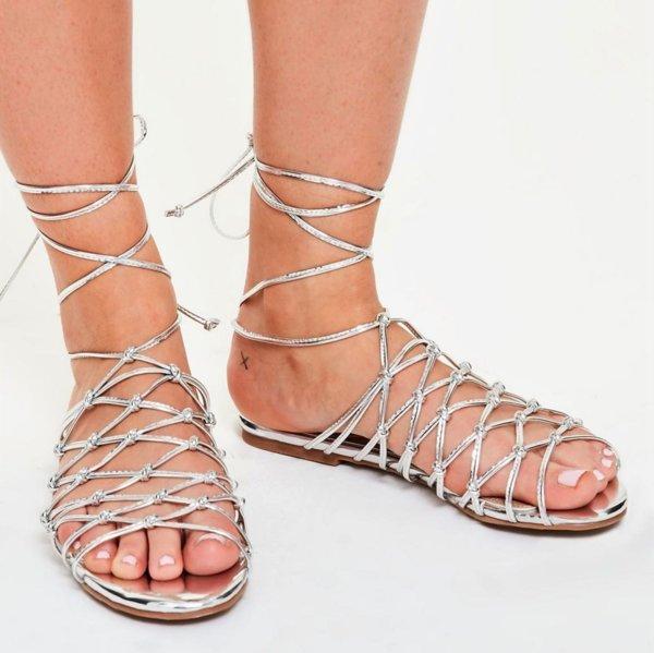 Сребърни преплетени сандали MELISSA
