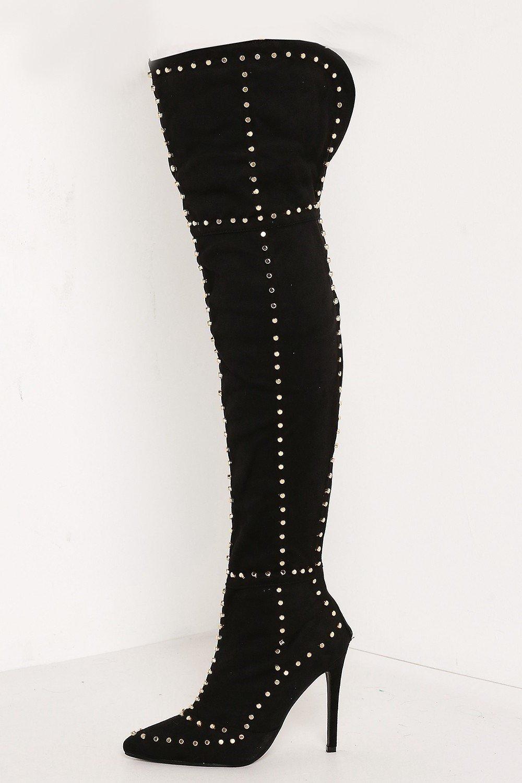 Черни велурени ботуши с капси KATRIN