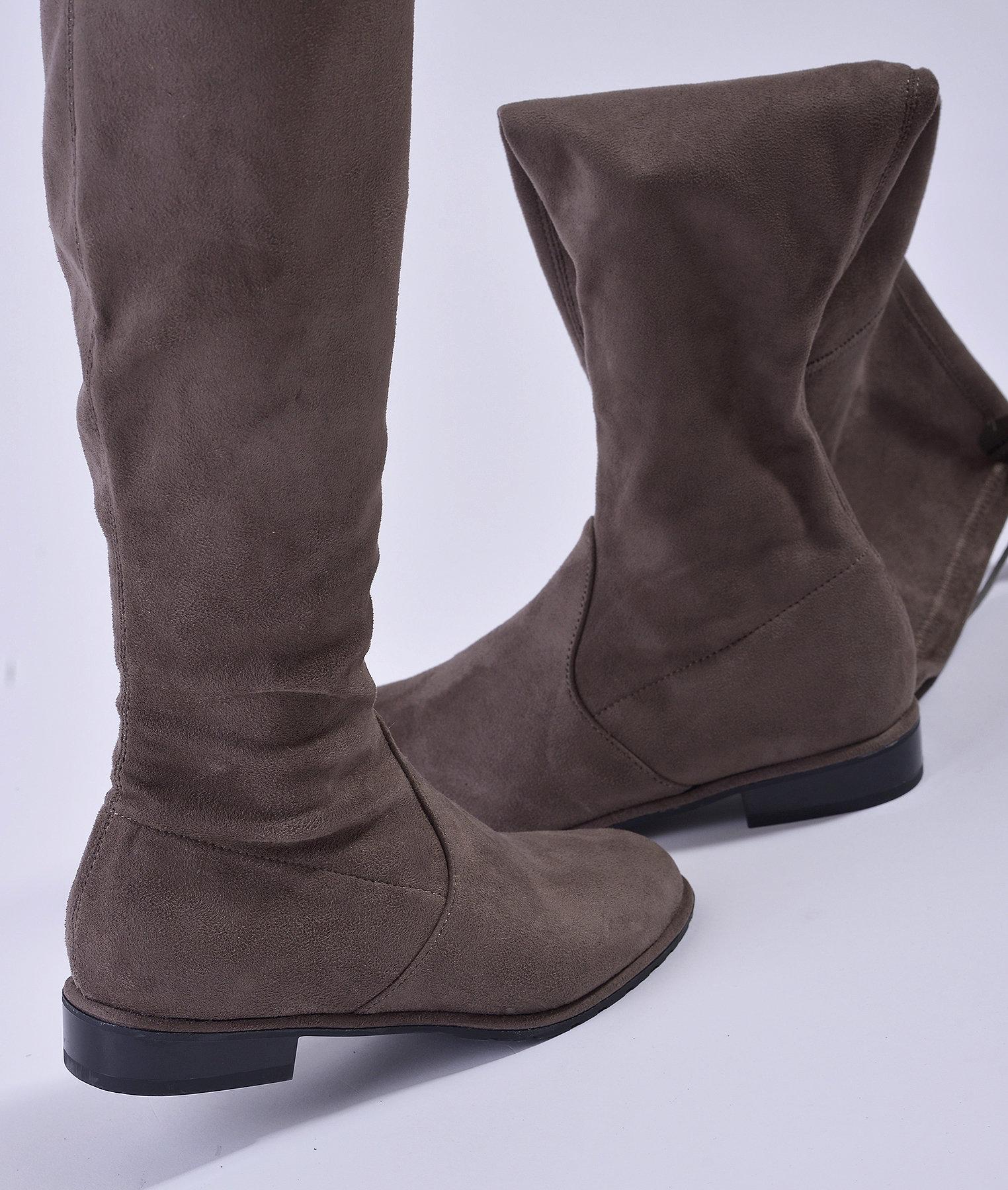 Сиви велурени ботуши над коляното PREA