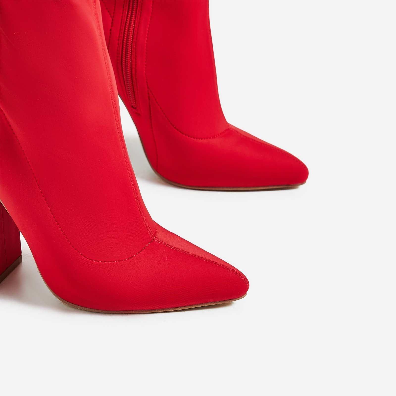 Червени Стреч ботуши с дебел ток JAY