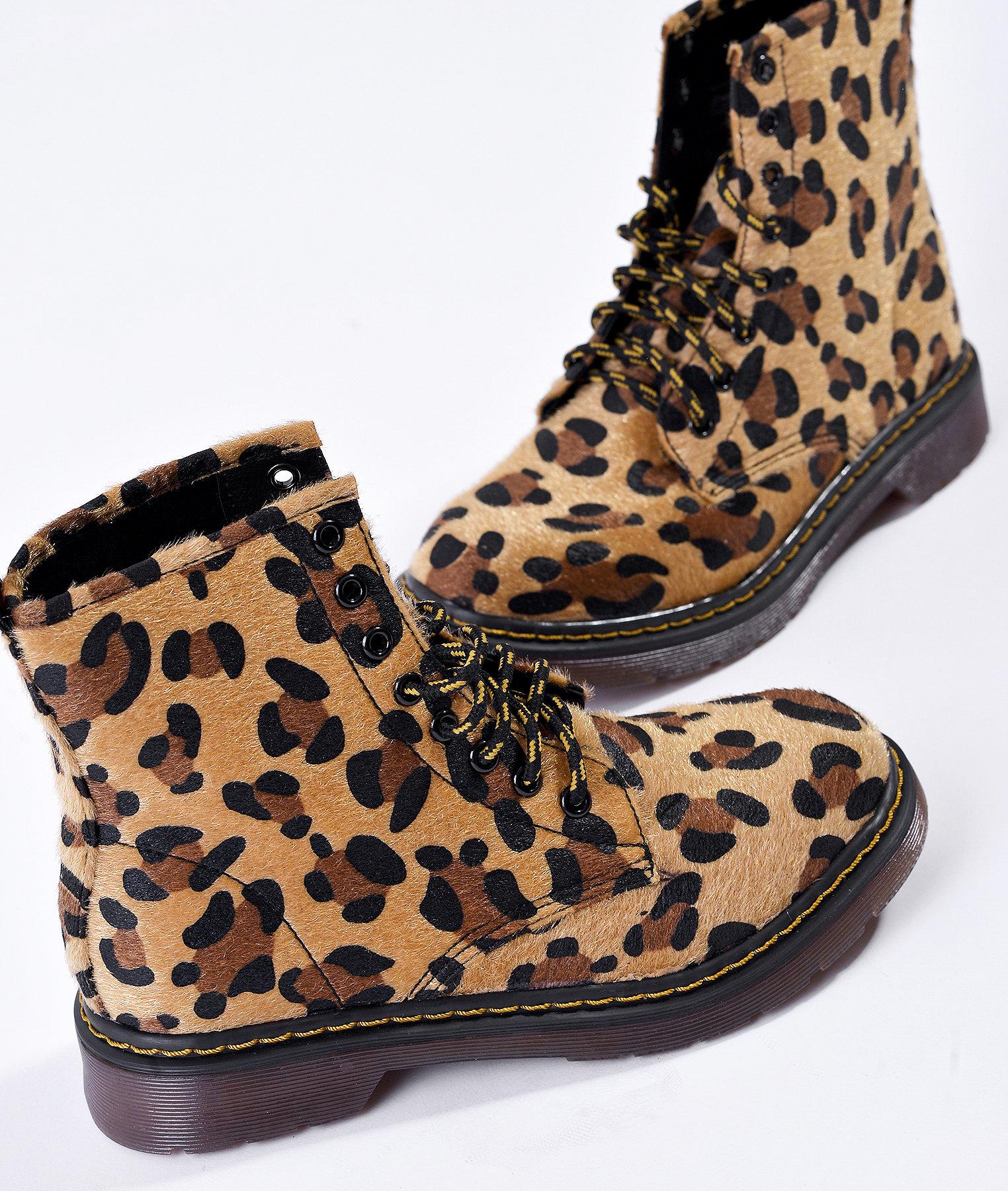 Леопардови кубинки с жълти връзки Jungle