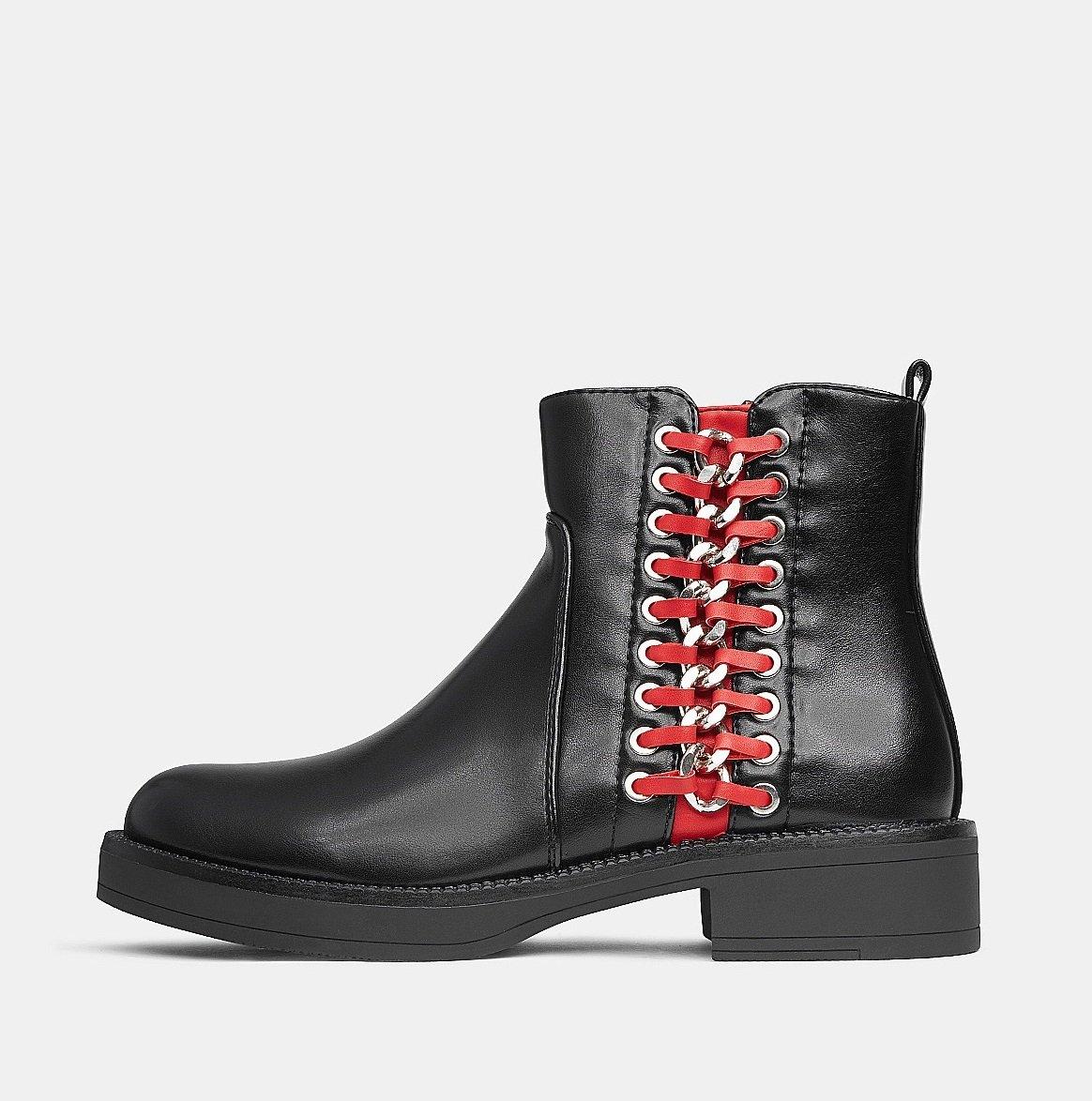 Черни боти с червено  MELIA