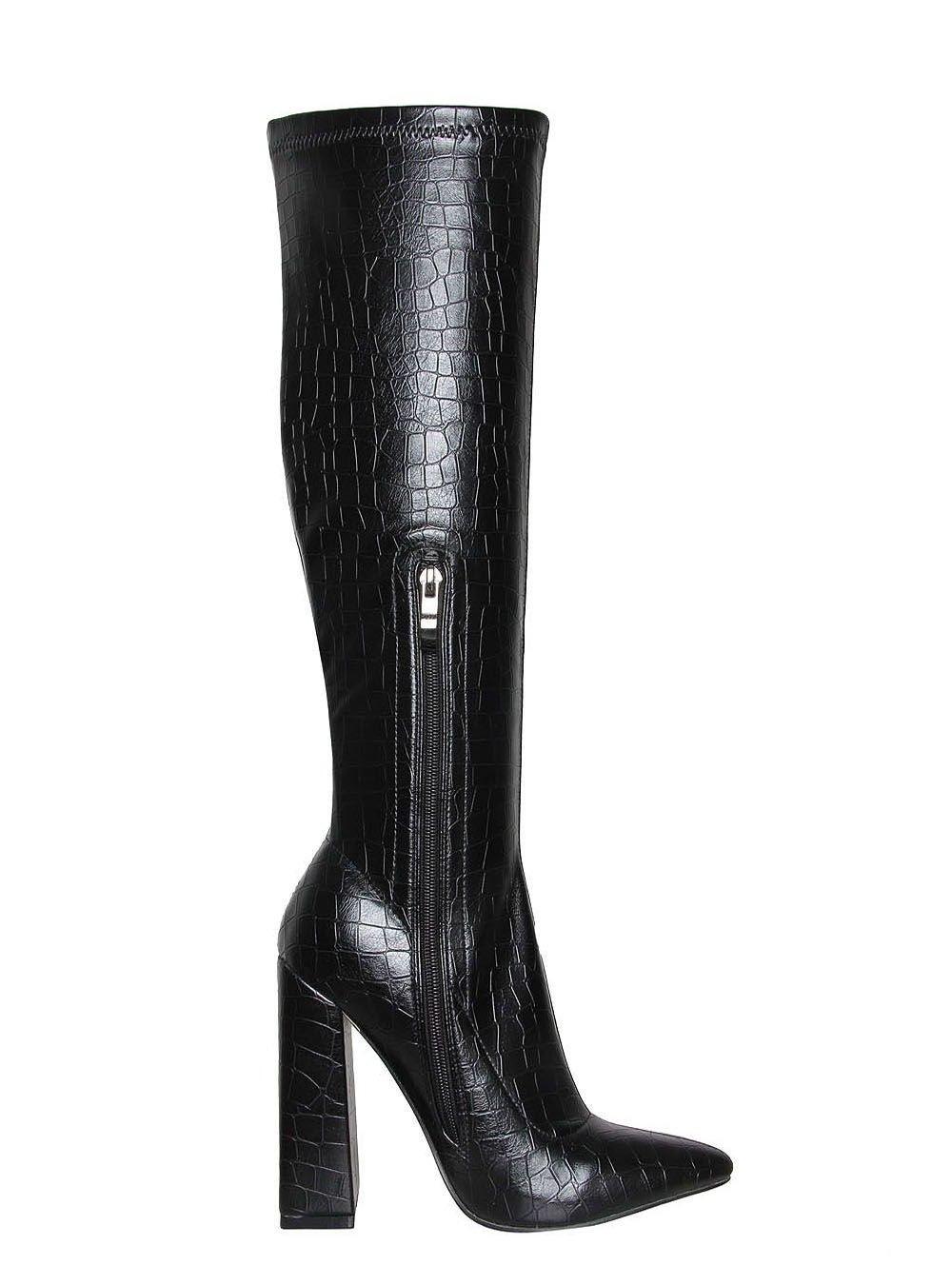 Черни ботуши на ток CROC - Limited Edition