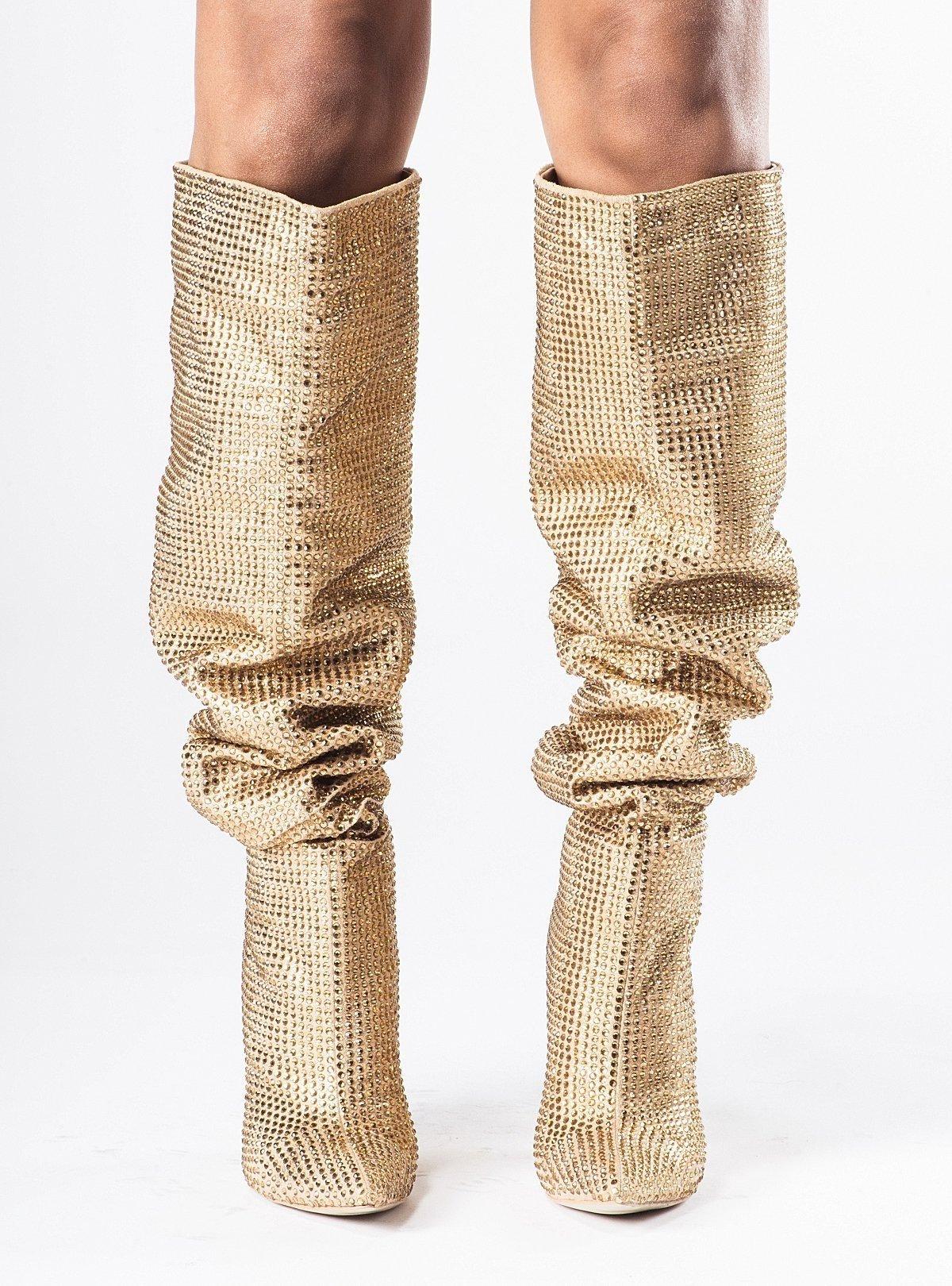 Високи ботуши с кристали DIAMOND Gold - Limited Edition