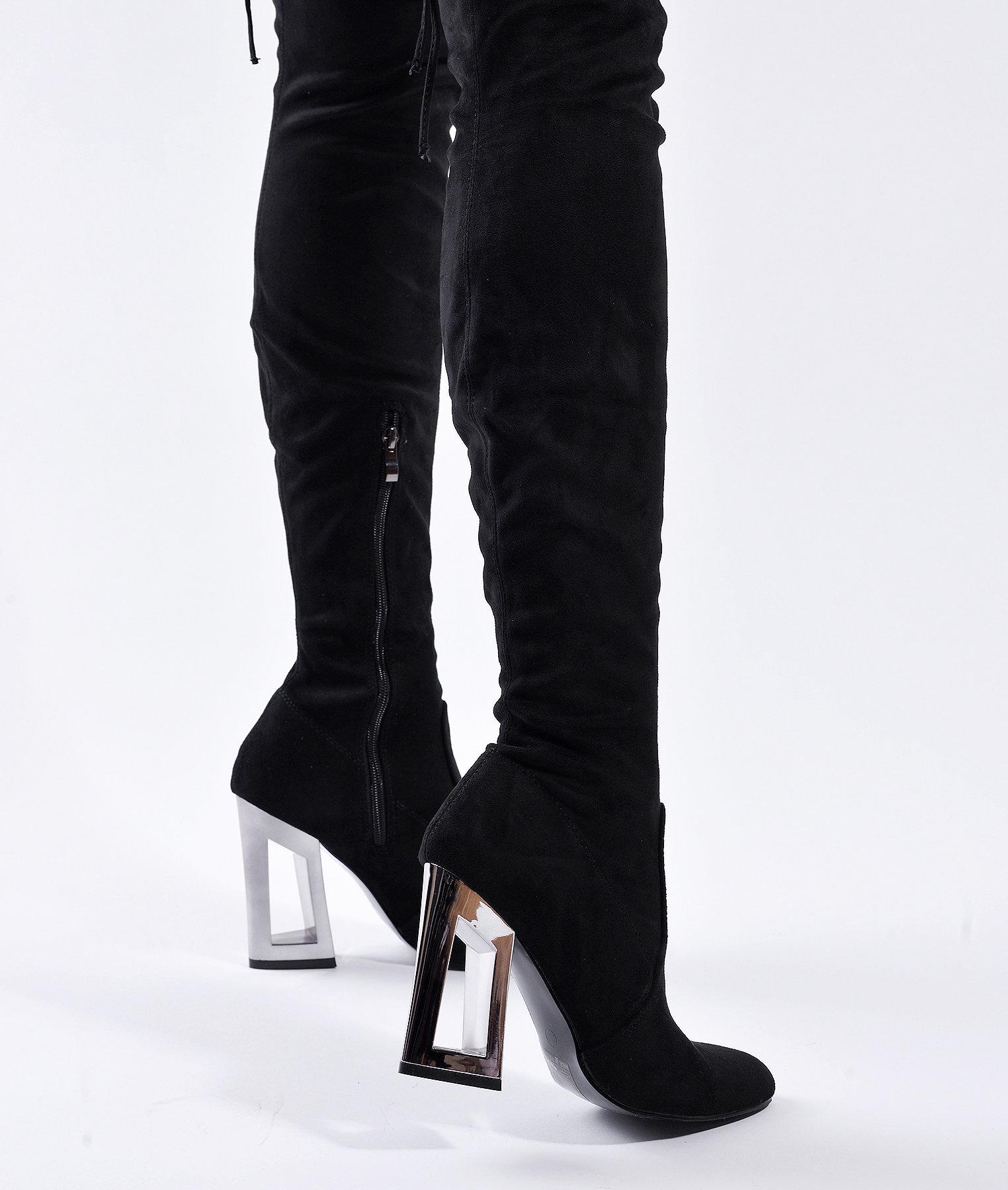 Високи велурени ботуши MATIE - черни