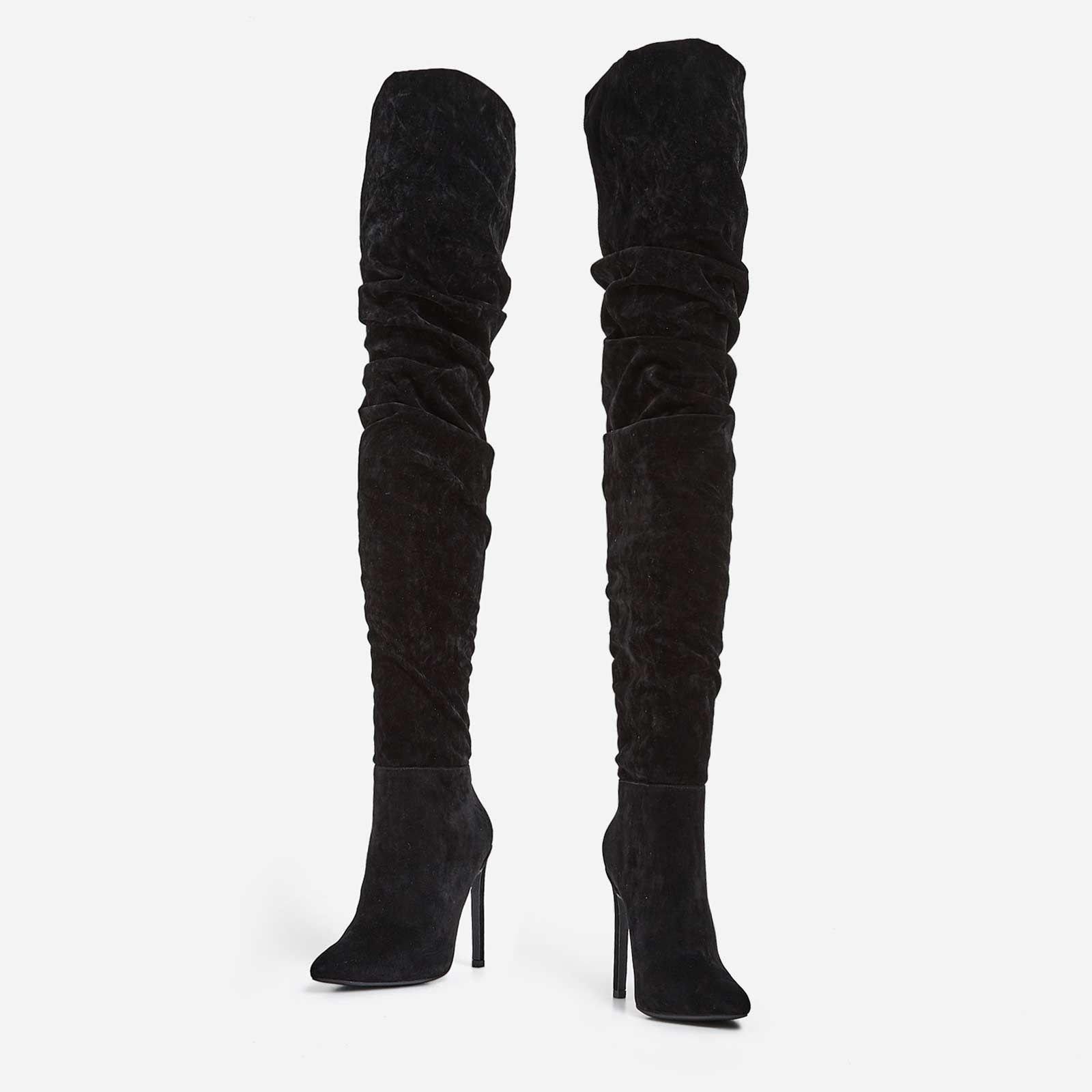 Високи велурени ботуши MALIBU - черен