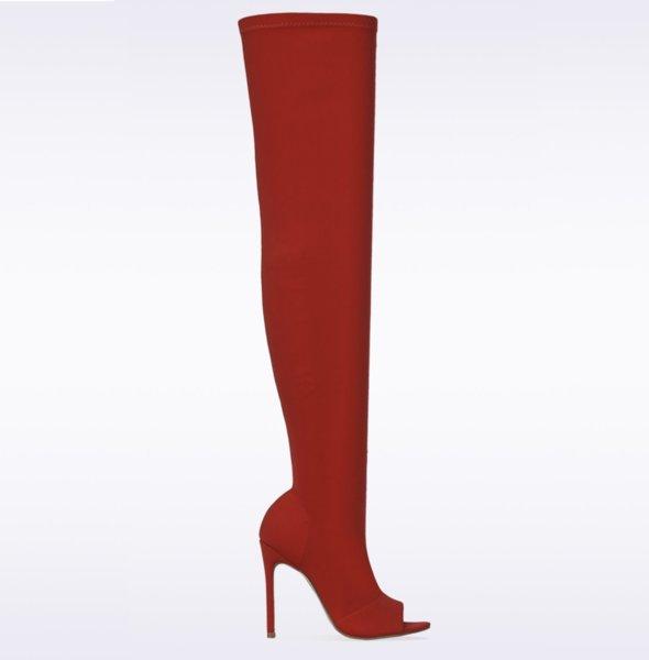 Червени стреч ботуши SANTHIA  - червени
