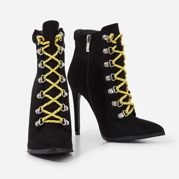 Черни велурени боти с жълти връзки DEGAS