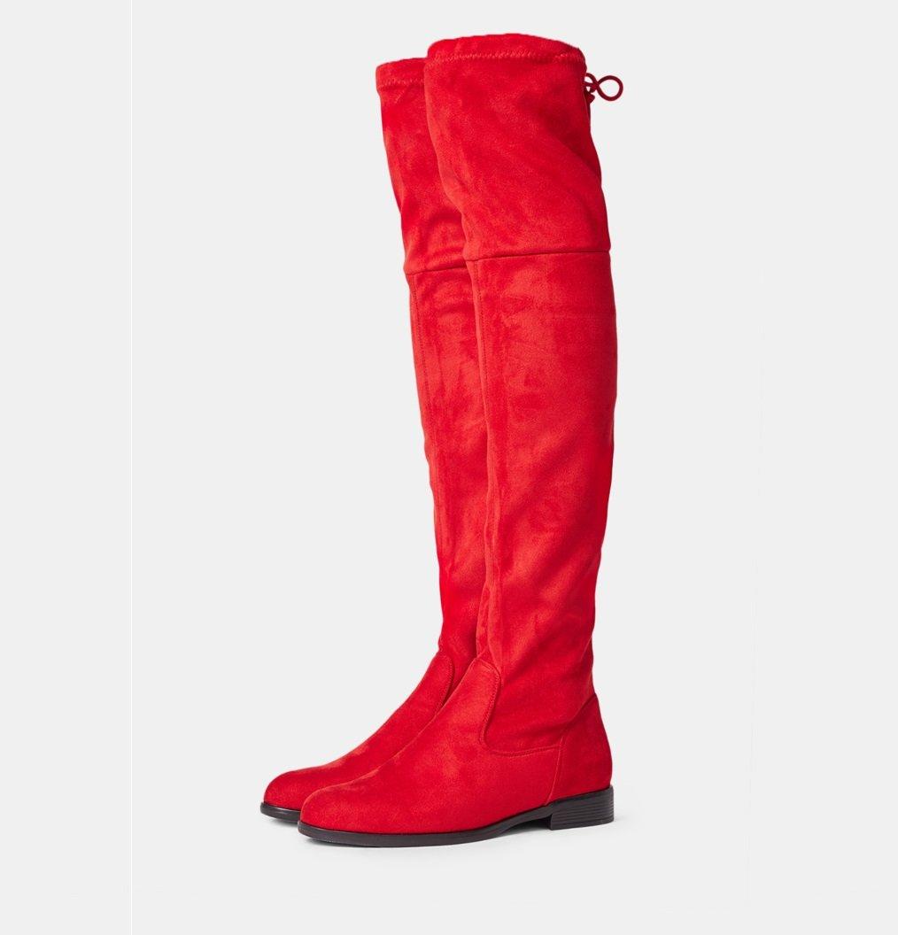 Червени велурени ботуши LAUREN