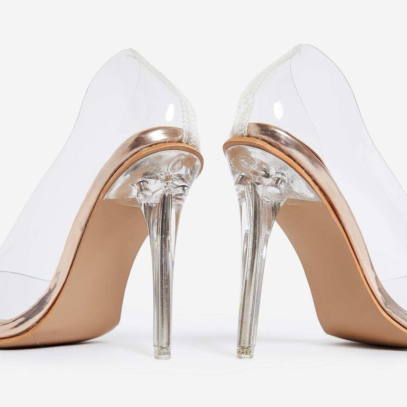 PVC Прозрачни обувки на ток KIM - gold