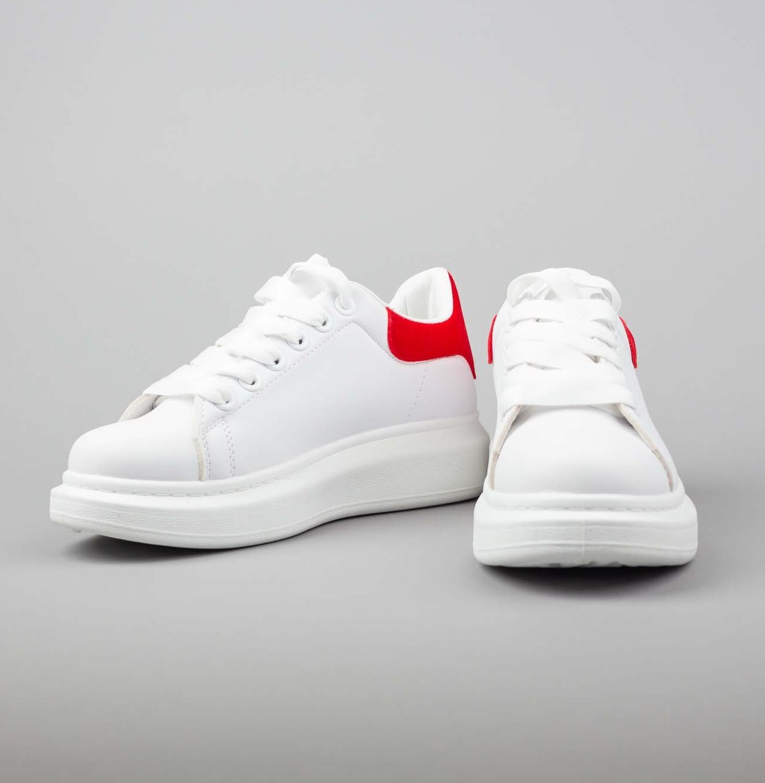 Бели кожени кецове ALEXANDER red