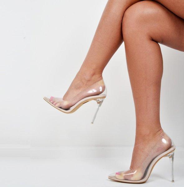 PVC Прозрачни обувки на ток KIM - nude