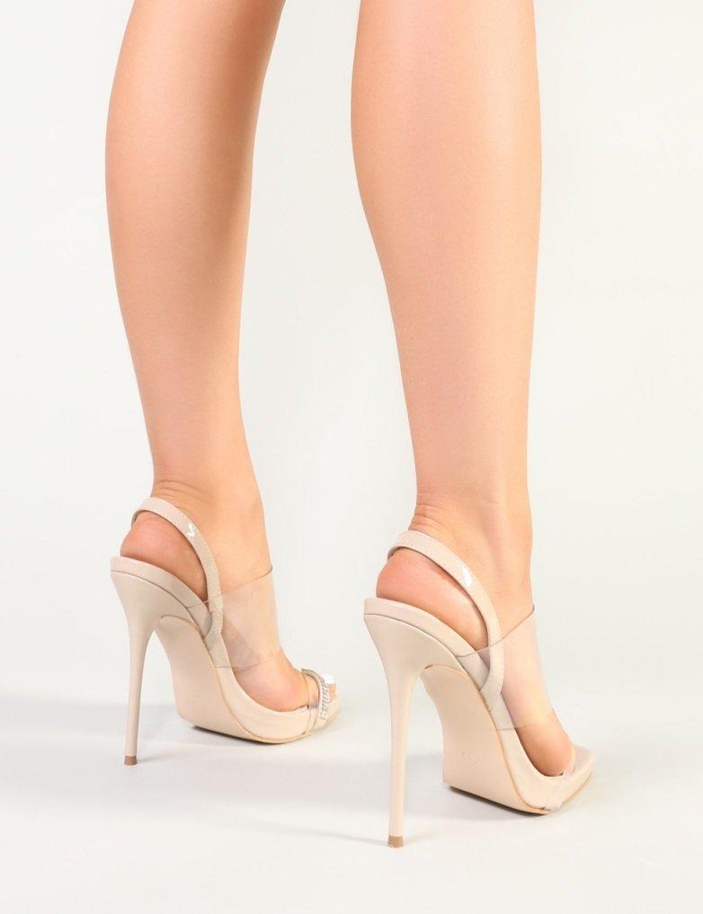 Бежови сандали с PVC прозрачна част DIANA