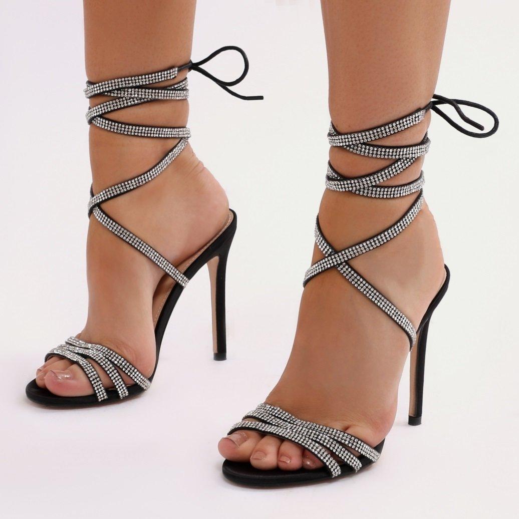 Черни сандали с връзки и кристали FREAK