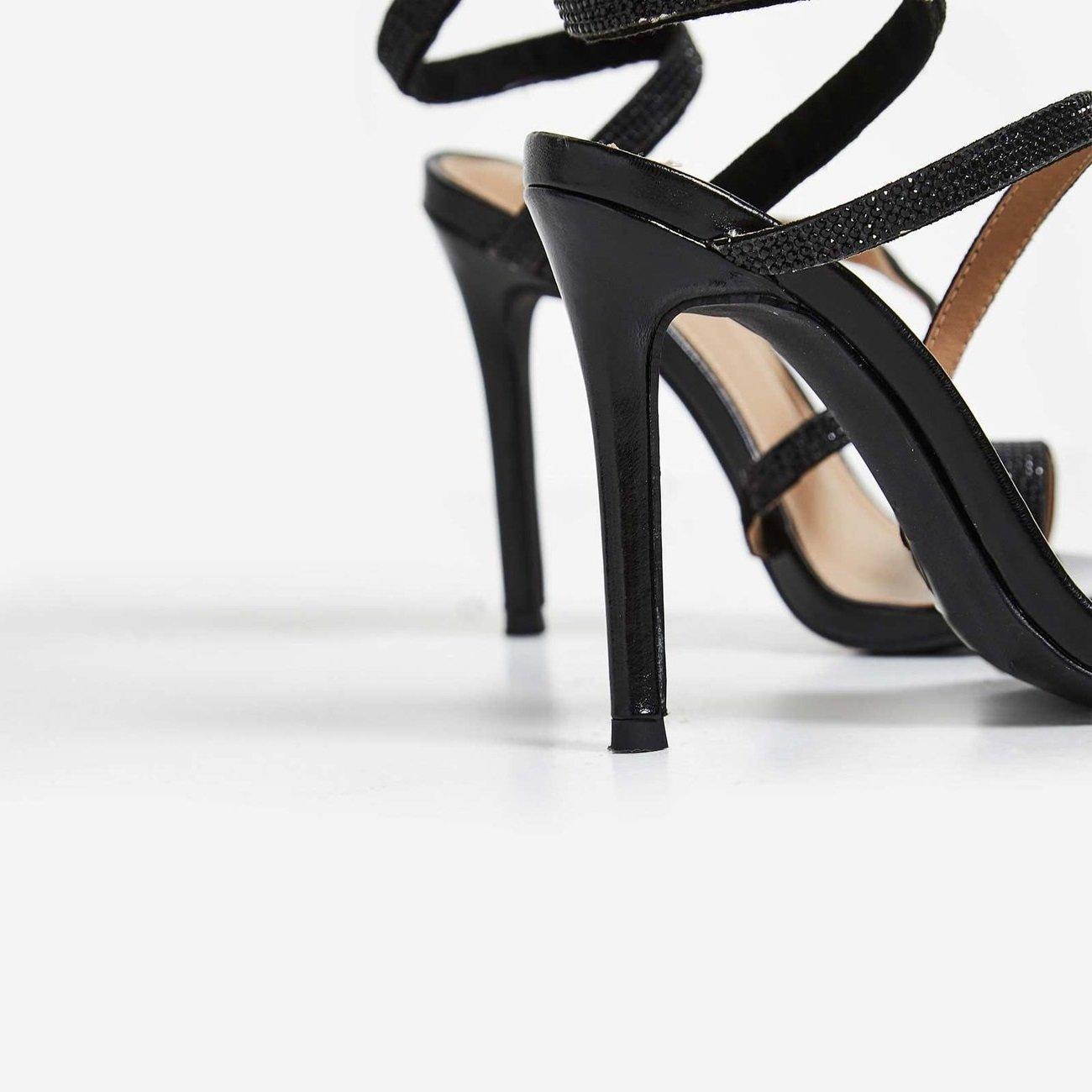 Черни спираловидни сандали с кристали DUBAI