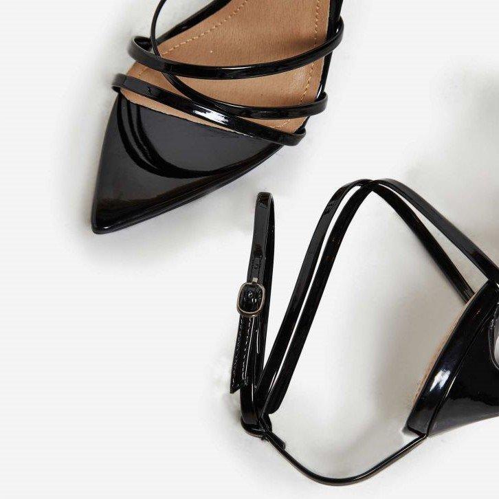 Черни сандали с каишки KHLOE