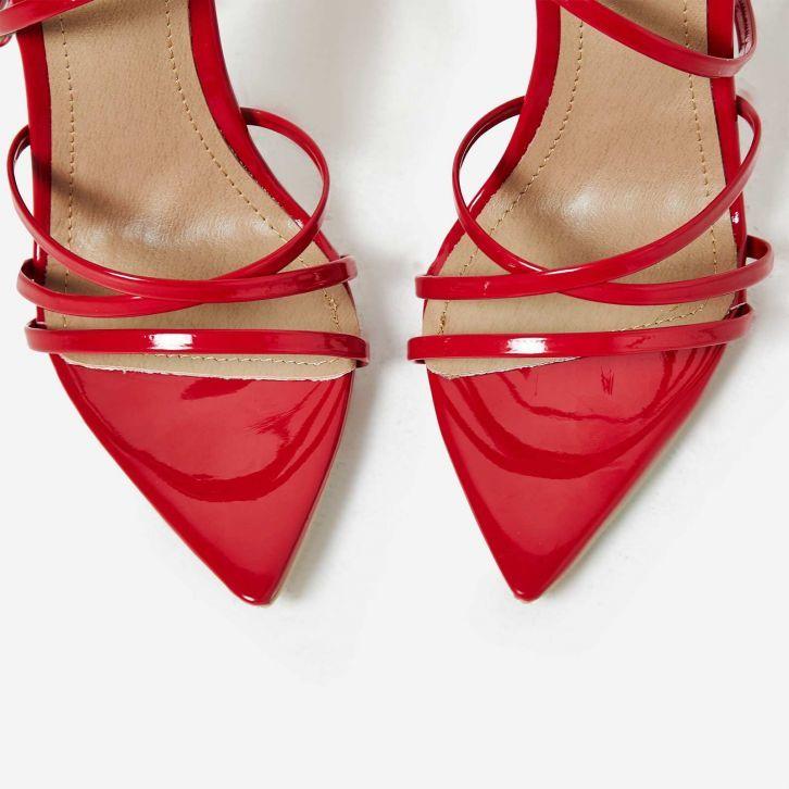 Червени сандали с каишки KHLOE