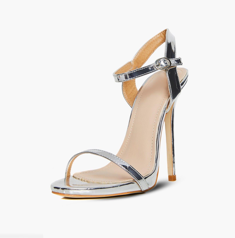 Сребърни сандали на висок ток ISSI