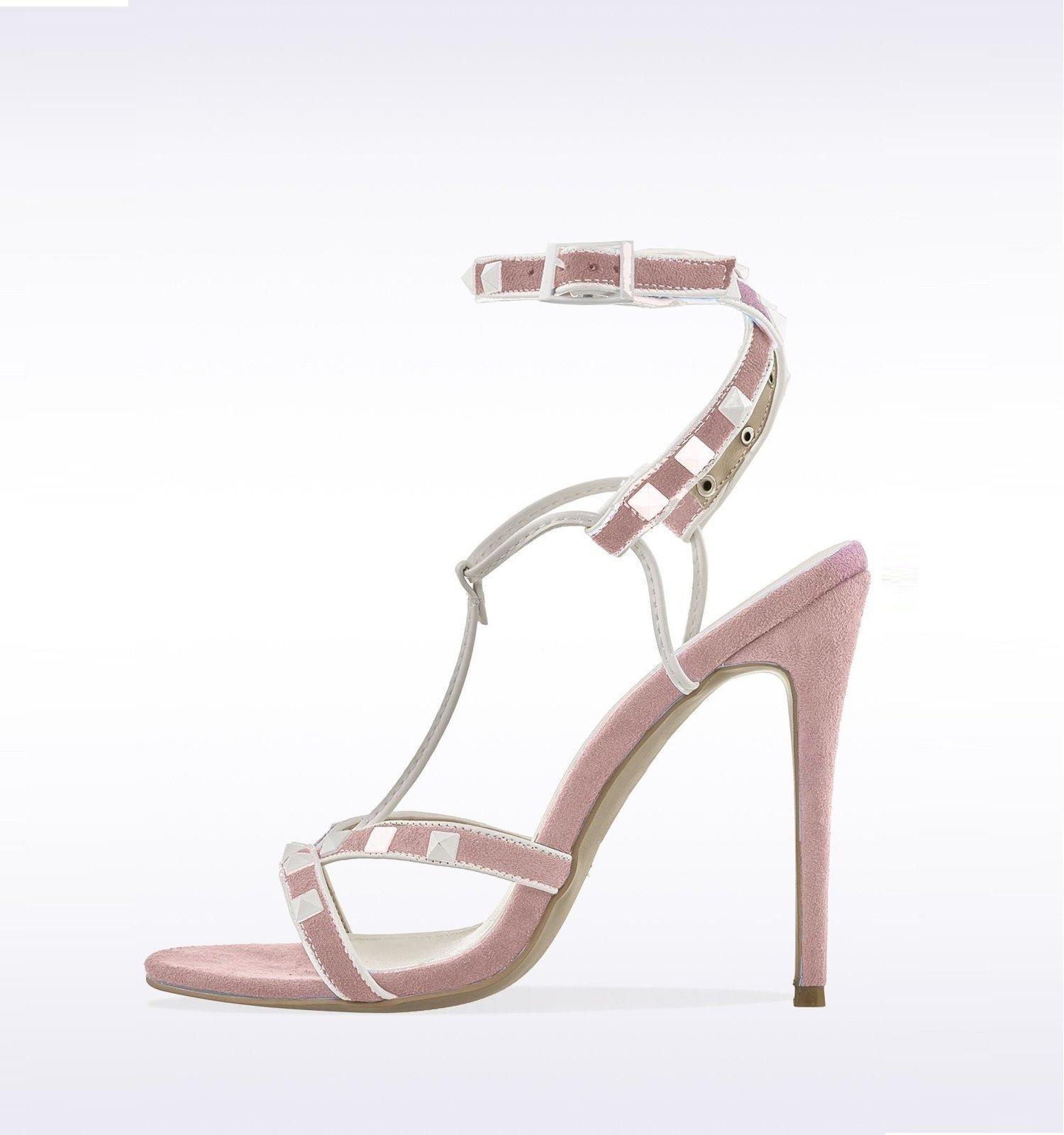 Розови велурени сандали с бели шипове - ROCKSTUD