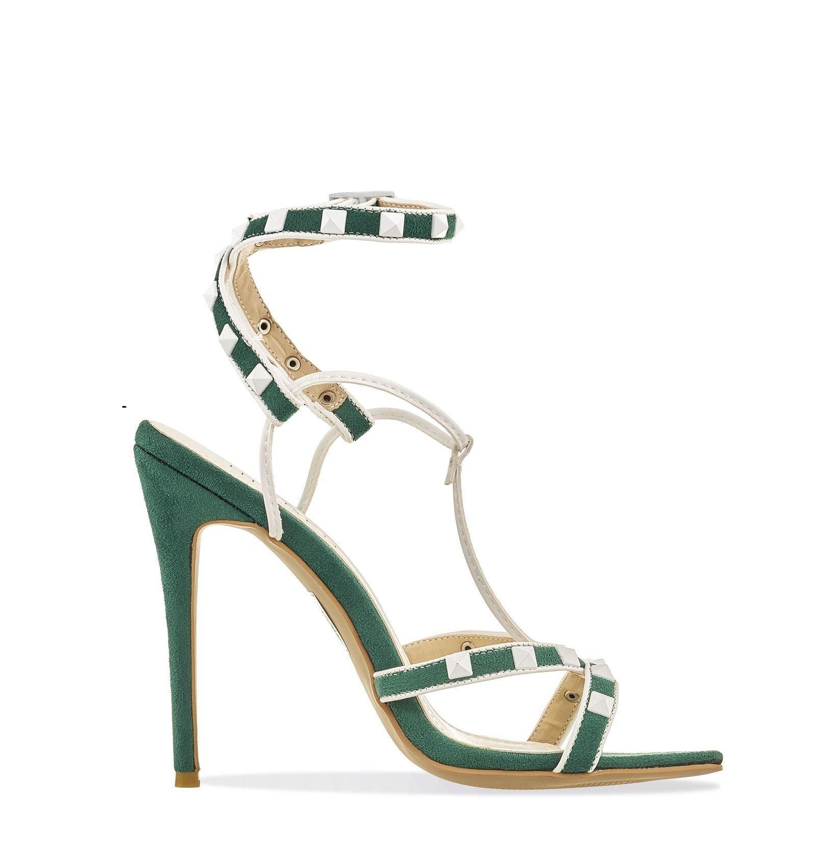 Зелени велурени сандали с бели шипове - ROCKSTUD