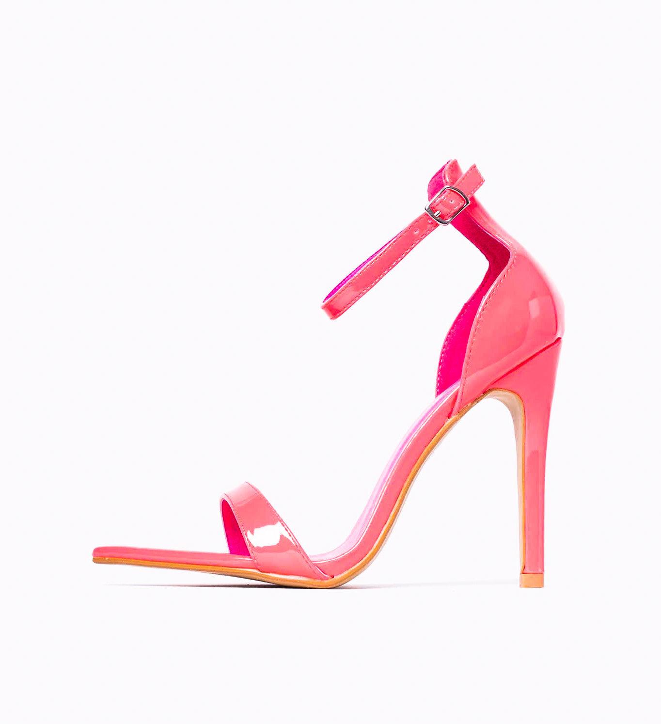 Неоново розови лакирани сандали Hailey