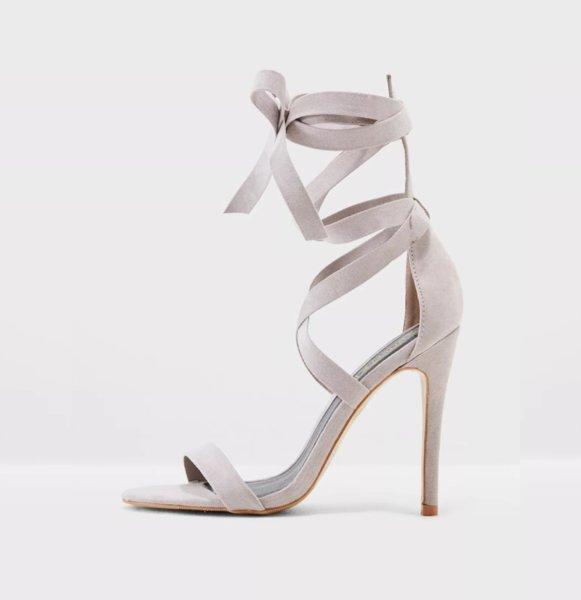 Сиви велурени сандали с връзки AGNE