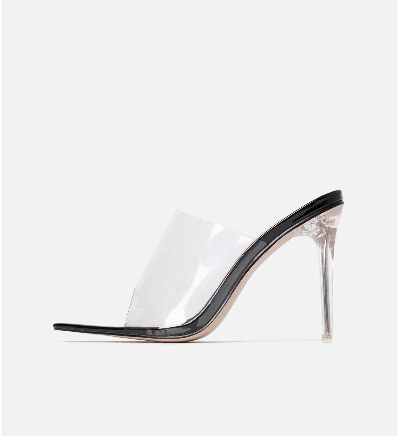 Прозрачни сандали от винил на ток POSH