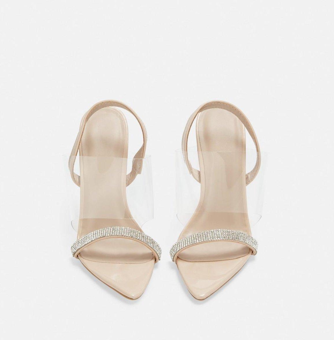 Прозрачни сандали от винил с кристали SPLASH