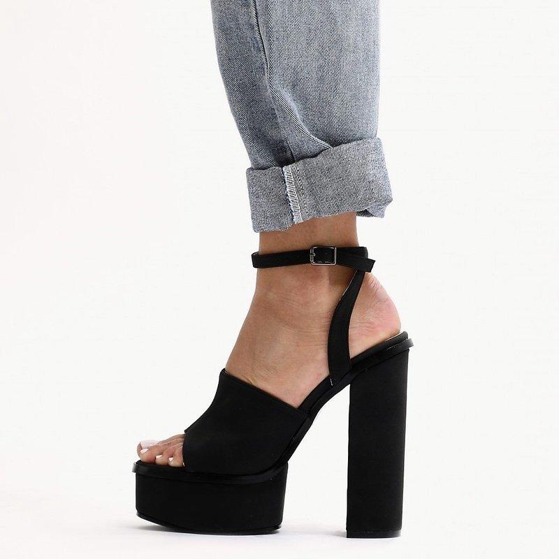 Черни велурени сандали с платформа - BALI