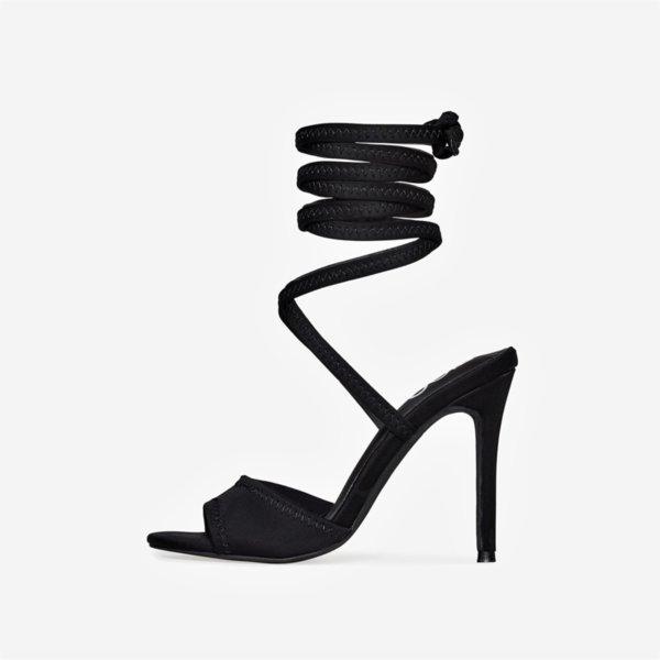 Черни стреч сандали AMANISA