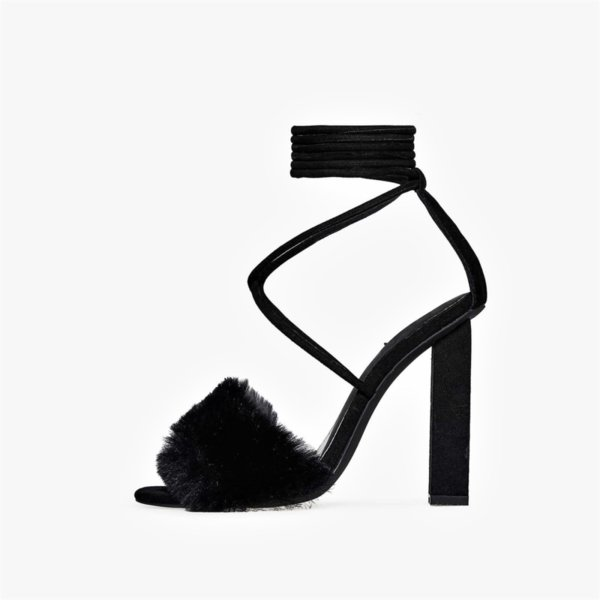 Черни велурени сандали с еко косъм CIARA