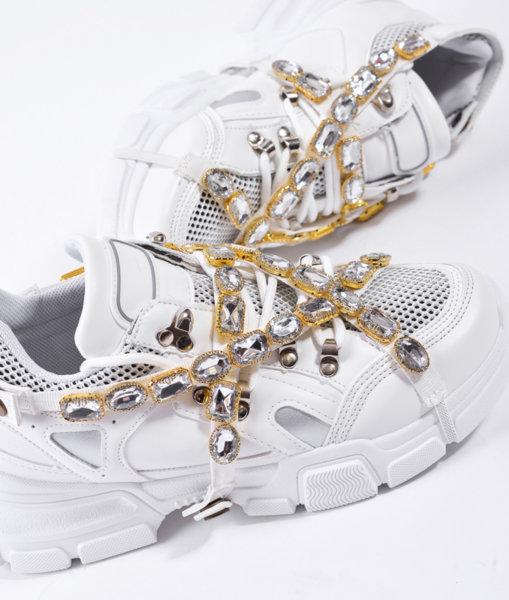 Бели маратонки с кристали CASSIE