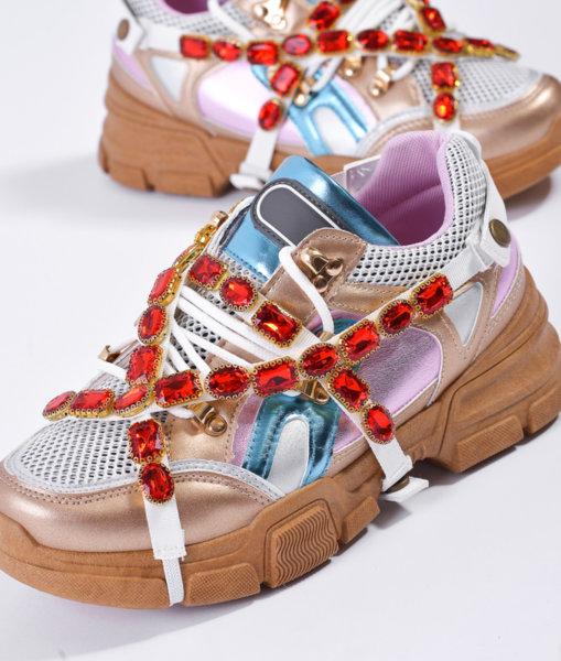Цветни маратонки с червени кристали CASSIE