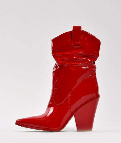 Червени каубойски боти от лак WANG