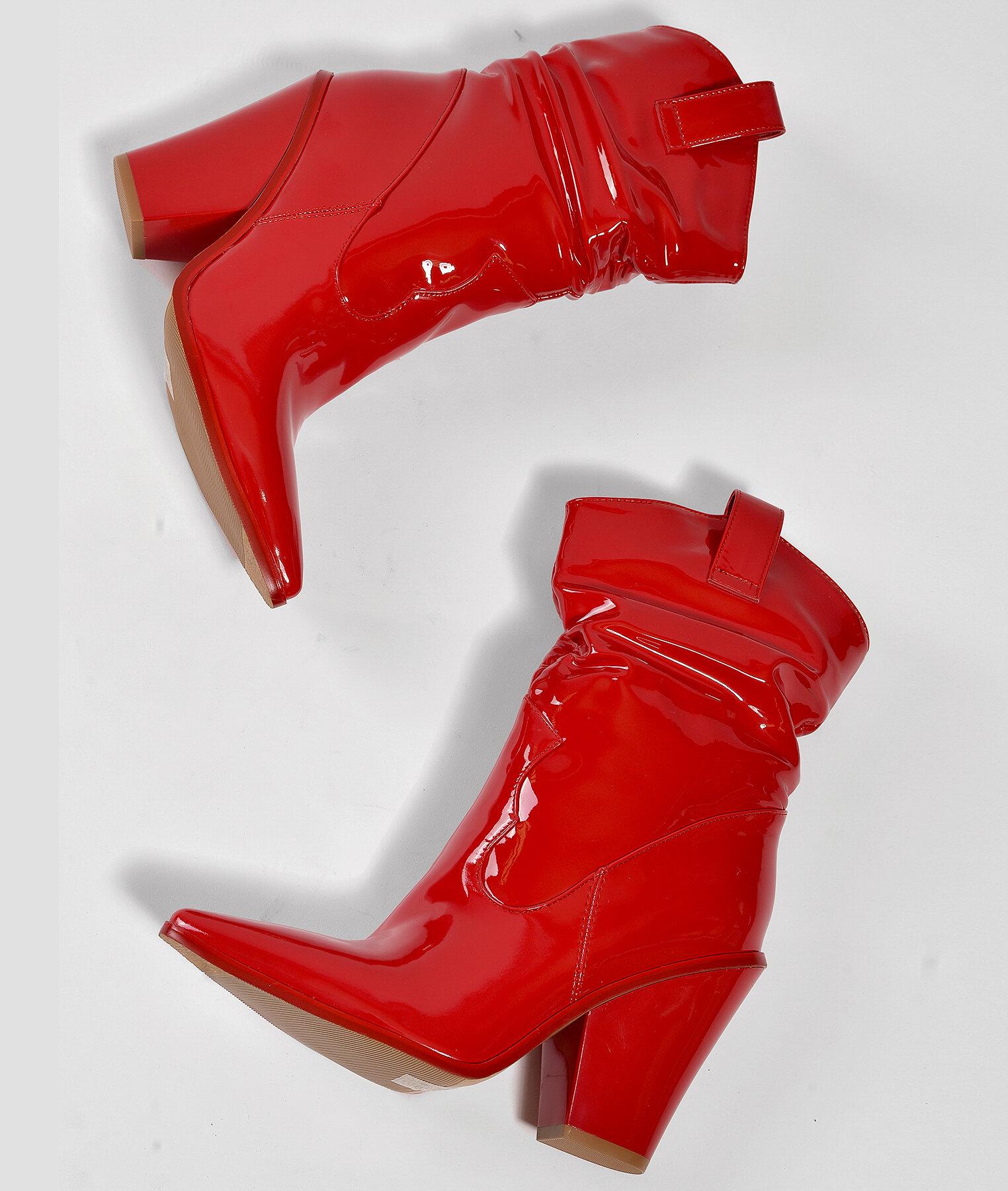Червени боти с каубойски ток DONATELA