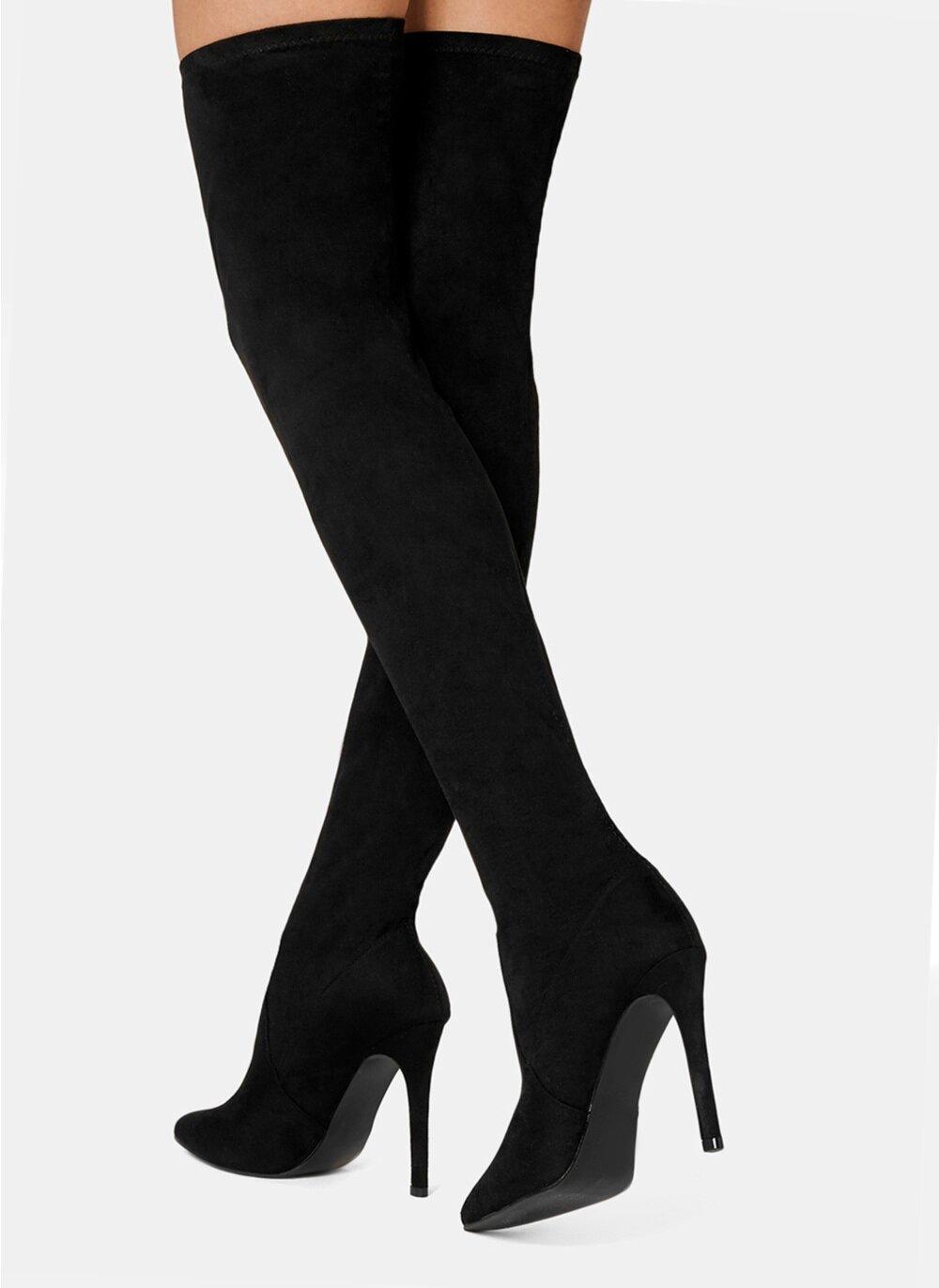 Велурени ботуши над коляното EMM - черни