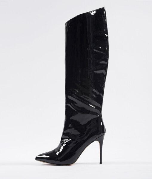 Черни ботуши до коляното от лак BLACK STAR