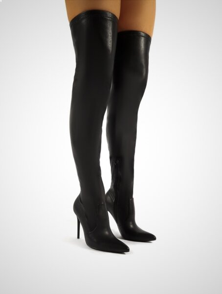 Черни еластични кожени ботуши DION