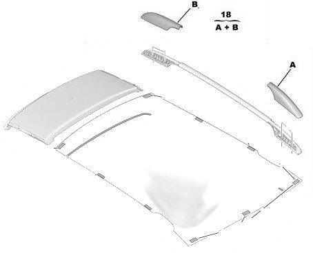 Капачки к-кт за лява надлъжна релса багажник - 308 ESTATE - LEISURE с прозорец на таван;  308 ESTATE 5 вр. с прозорец на таван