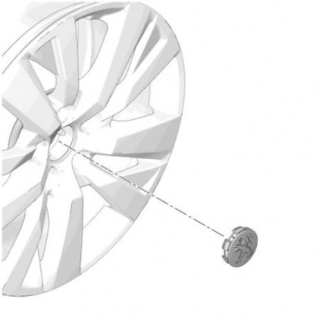 Капачка -  централна, за алуминиева джанта, Peugeot, ефект Алуминий