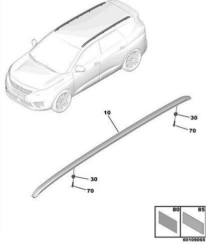 Надлъжна релса – багажник - лява -  5008 New (P87) (след 2017)